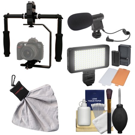 RPS Studio FloPod Digital SLR Camera Video Stabilizer Bracket with LED Video Light & Microphone + Kit