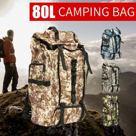 98d4f28784 Unisex 80L Durable Waterproof Camouflage Sport Backpack Breathable Adjustable  Travel Hiking Camping Luggage Outdoor Army Backpack Bag Large Adult  Climbing ...