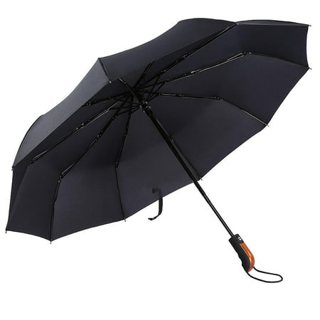 Dilwe  Auto Open/Close Folding Windproof Compact Portable Rain Umbrellas 10 Ribs Sto, Double Canopy Wind Resistant Const  Real Wood Handle Travel Umbrella Wood Handle Umbrella for Mens