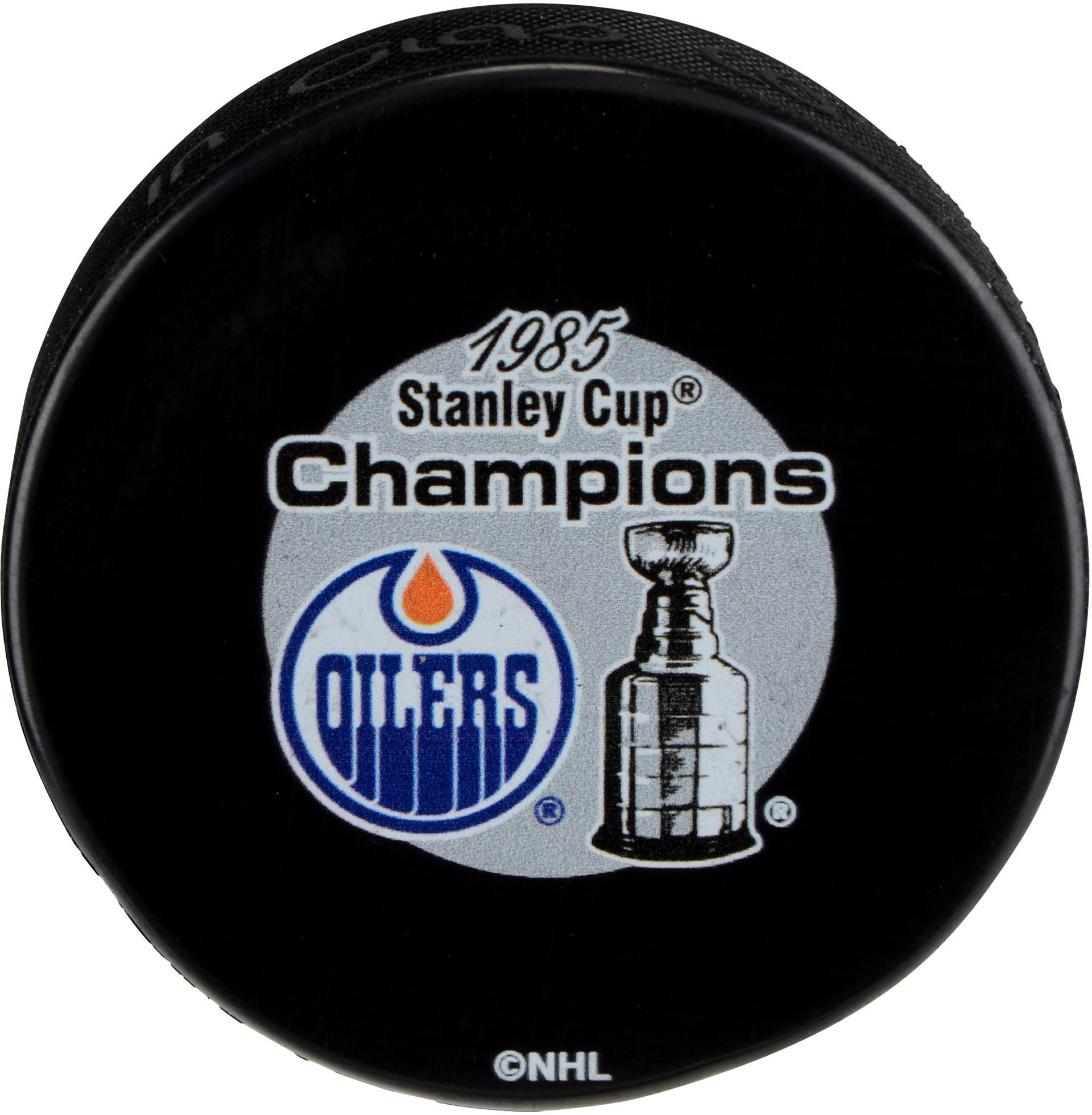 Edmonton Oilers Unsigned 1985 Stanley Cup Champions Logo Hockey Puck