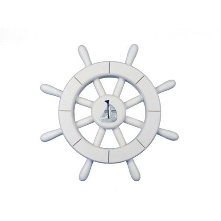 White Decorative Ship Wheel With Sailboat 12