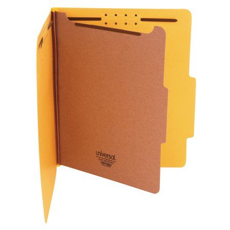 Universal Pressboard Classification Folders, Letter, Four-Section, Yellow, 10/Box -UNV10204