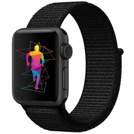 Apple Watch Replacement 38mm Bands, Soft Lightweight Breathable Nylon Sport Loop Replacement Strap for iWatch Apple Watch Series 3, Series 2, Series 1, Hermes, Nike+ - Black - image 3 of 3