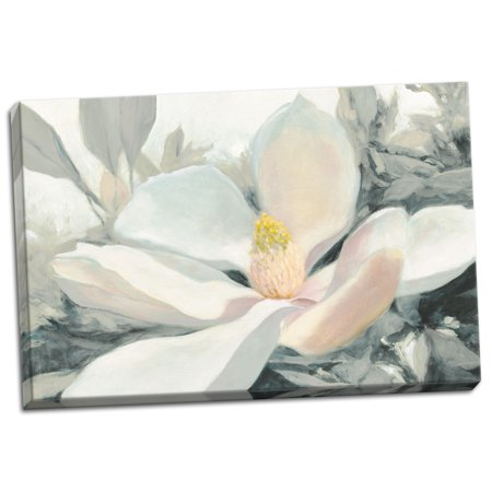 Gango Home Decor Contemporary Majestic Magnolia Green Gray Crop by Julia Purinton (Ready to Hang); One 24x16in Hand-Stretched Canvas ()