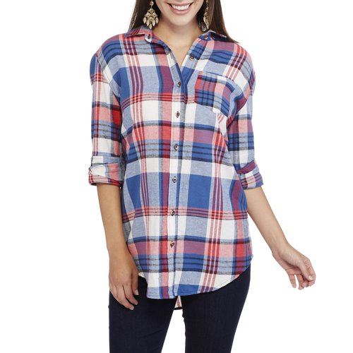 Brooke Leigh Women's Rolled Sleeve Front Pocket Flannel Shirt