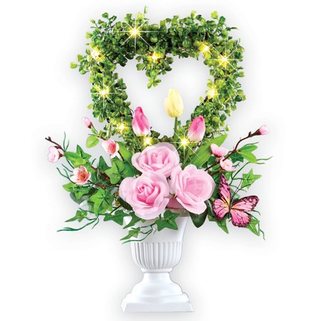 Floral Centerpiece Ideas (Lighted Heart Floral Topiary on Pedestal, Centerpiece that Features Roses, Tulips and)