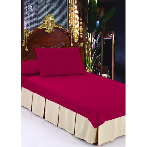 Violet Linen Double Pleats Luxurious Bed Ruffle 14'' Bed Skirt