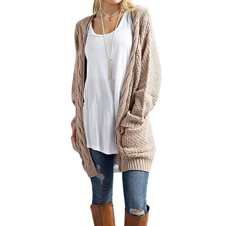 Women's Boho Long Sleeve Open Front Chunky Warm Cardigans Pointelle Pullover Sweater Blouses ()
