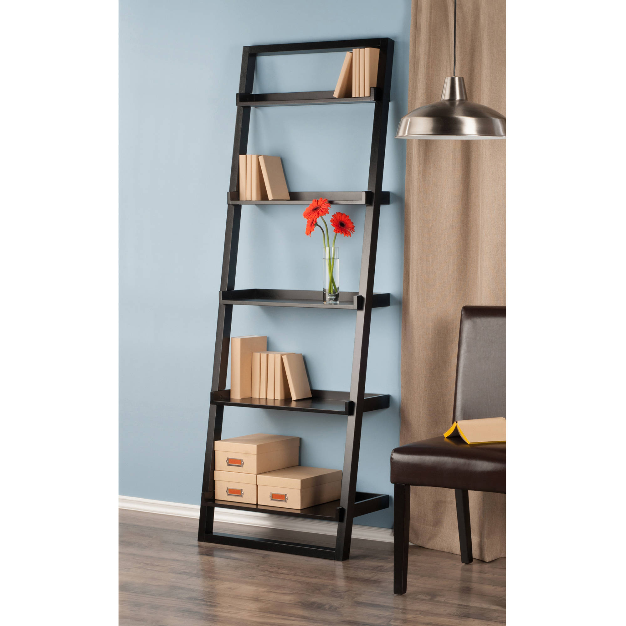 leaning wall 5 shelf bookcase black walmart