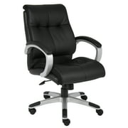 Boss Office Products Black Double Plush Leather Mid-back Chair