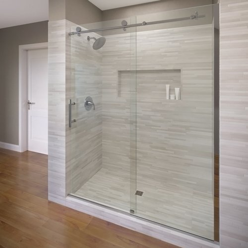 Basco Vinesse 47'' x 76'' Single Sliding Fixed Panel Shower Door