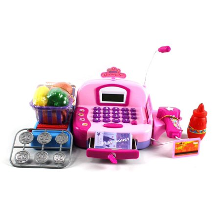 Educational Pretend Play Battery Operated Toy Cash Register W Working Scanning Action Microphone Money And Credit Card Groceries