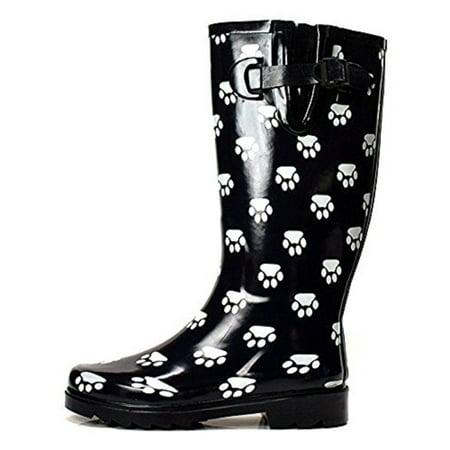 OwnShoe Women's Fashion Mid Calf Waterproof Rubber Rainboots ()