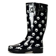 OwnShoe Women's Fashion Mid Calf Waterproof Rubber Rainboots
