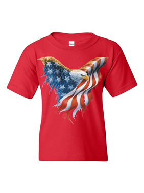 Youth American Flag Eagle T-Shirt For Girls and Boys