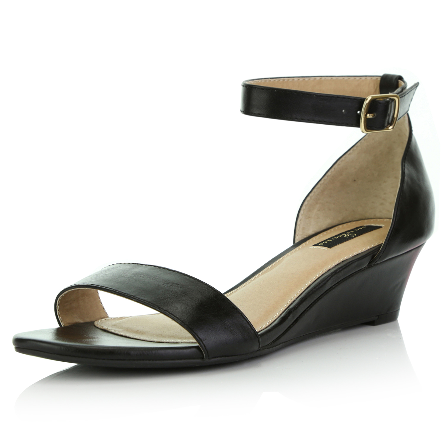 Ankle Strap Low Wedges Sandals