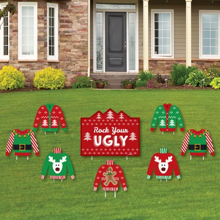 Ugly Christmas Decorations (Ugly Sweater - Yard Sign & Outdoor Lawn Decorations - Holiday & Christmas Yard Signs - Set of)