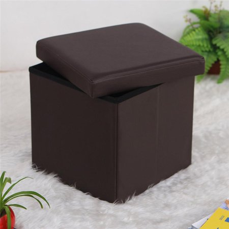 Ktaxon Folding Cube Footrest Leather Ottoman Footstool Storage Stool Box Seat Brown