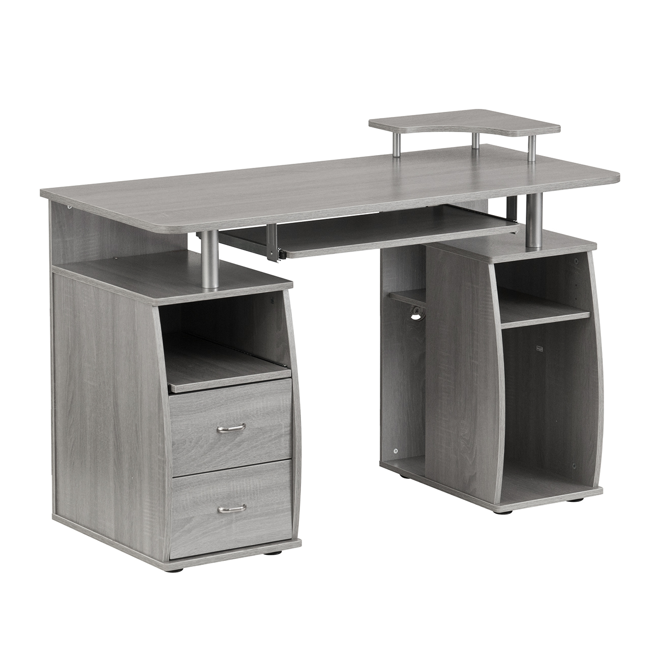 Techni Mobili Complete Computer Workstation Desk With Storage, Grey