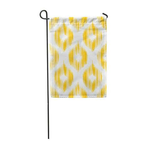 LADDKE Yellow Ikkat Geometric Pattern Based on Ikat Ogee Abstract Garden Flag Decorative Flag House Banner 12x18 inch