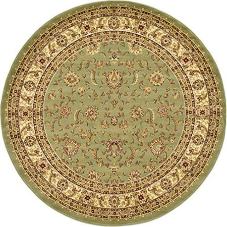 Agra Ivory Green - Due Process Stable Trading AMRAGRALG0IV08RO 8 x 8 ft. Amritsar Agra Round Area Rug, Light Green & Ivory