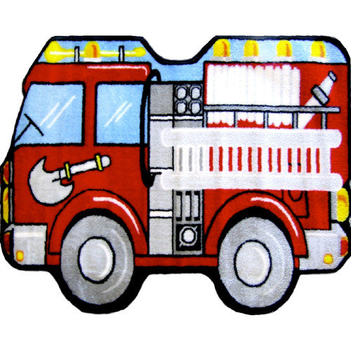 Fun Rugs Fun Shape High Pile Fire Truck Area Rug
