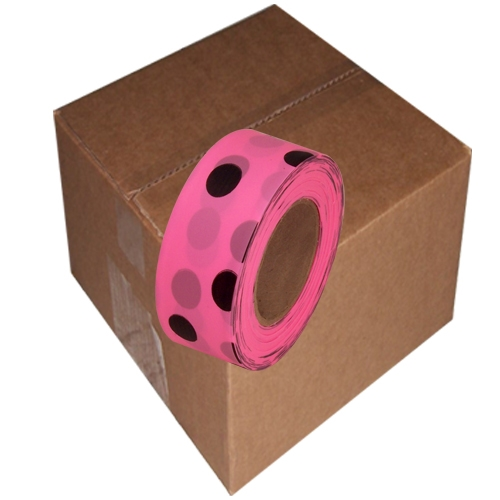 12 Roll Case of Fluorescent Pink and Black Polka Dot 1 3/16 inch x 100 ft Non-Adhesive