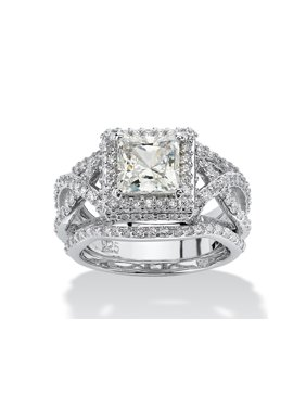 2.82 TCW Princess-Cut Cubic Zirconia Platinum over Sterling Silver 3-Piece Halo Bridal Ring Set