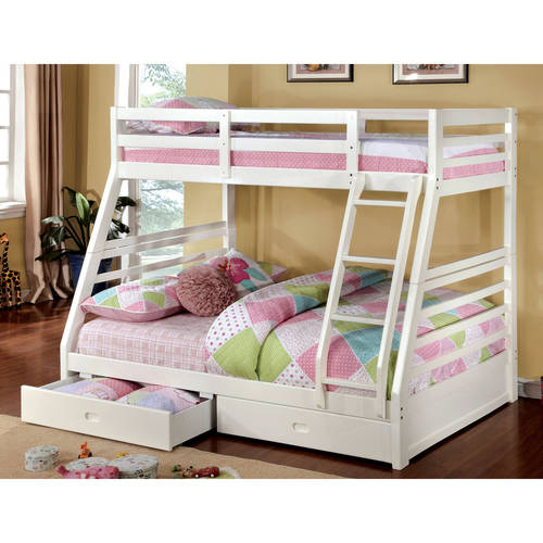 Furniture of America Luke Twin Over Full Wood Bunk Bed with Drawers, Multiple Colors