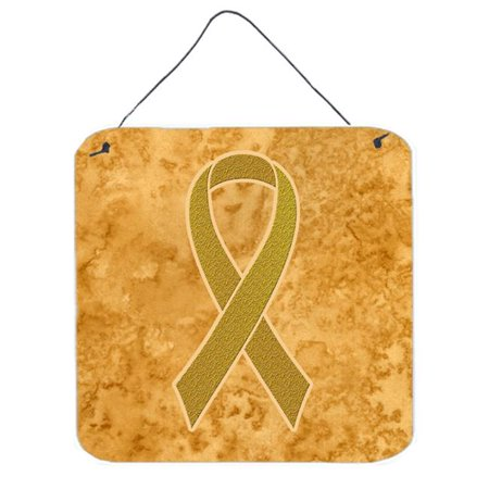 Gold Ribbon for Childhood Cancers Awareness Aluminium Metal Wall or Door Hanging Prints, 6 x 6 In.