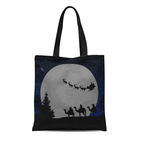 SIDONKU Canvas Bag Resuable Tote Grocery Shopping Bags Advent Three Wise Men Kings and Santa's Sleigh on Blue Night Bethlehem Bible Tote Bag](Bible Bags And Totes)