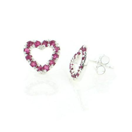 Genuine Ruby Valentine Heart Studs Post Earrings in Sterling Silver