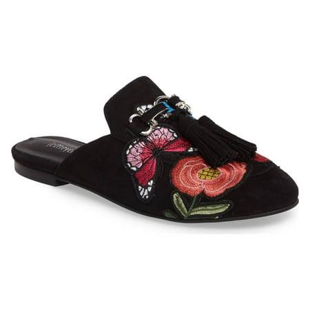 Suede Combo (Jeffrey Campbell Women's Apfel Tassel Slide Mules - Black Suede Peach Combo (9) )