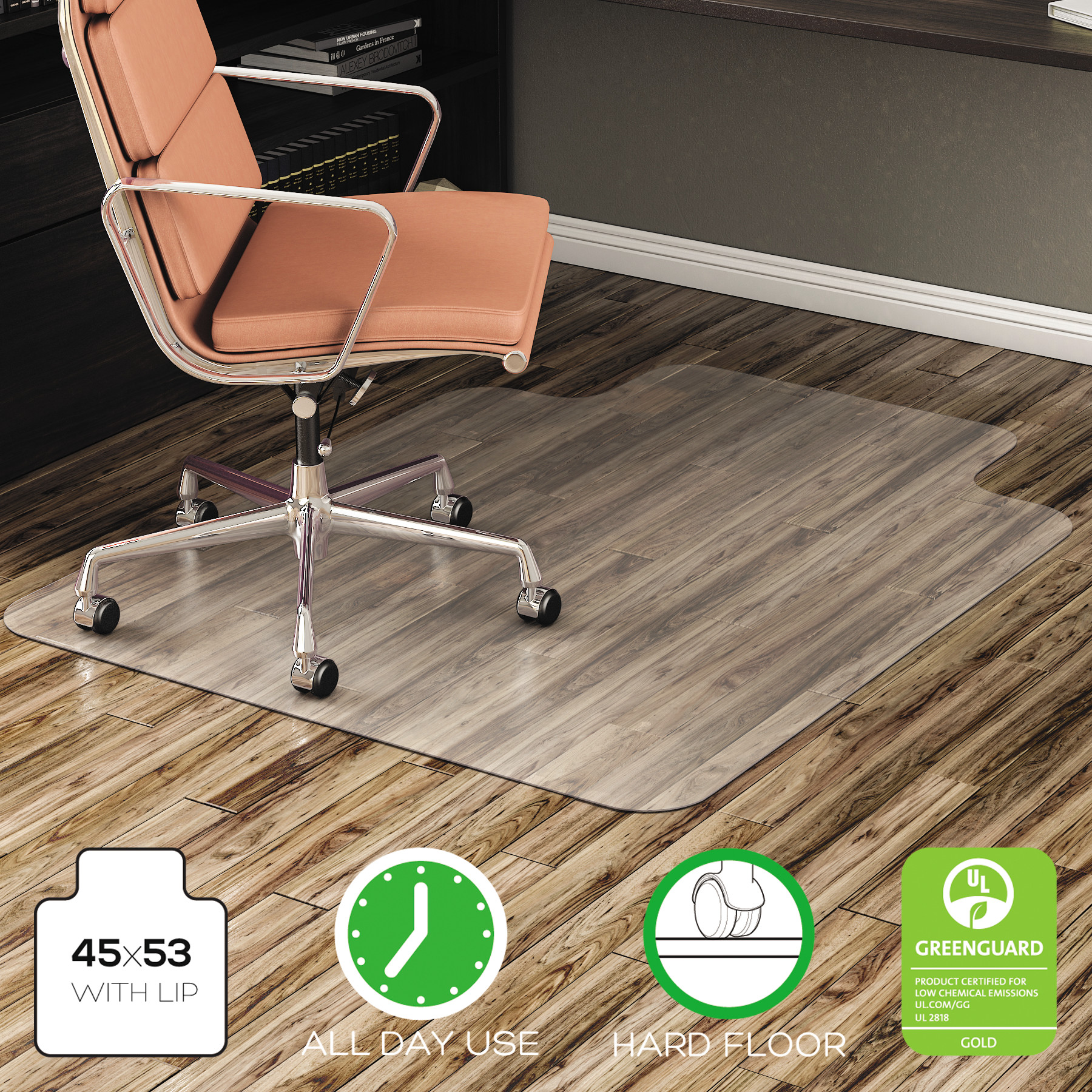 Deflecto EconoMat 45 x 53 Chair Mat for Hard Floor, Rectangular with Lip