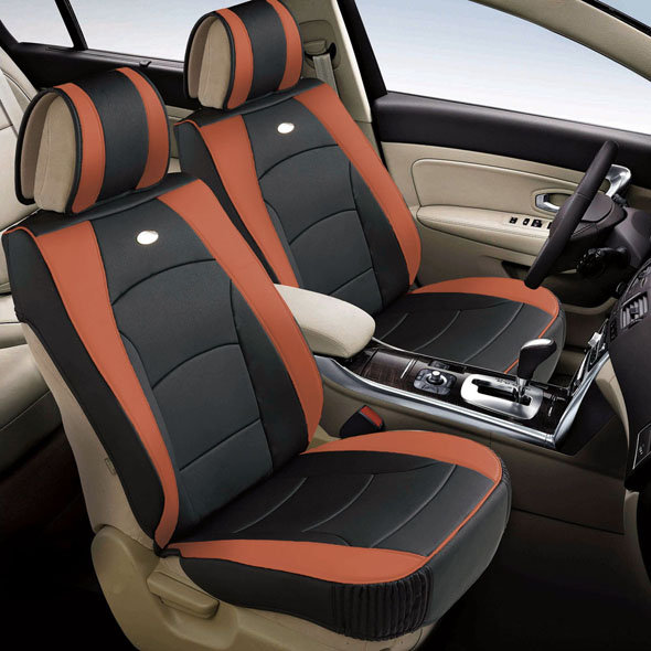 FH Group Ultra Comfort Leatherette 2 Front Seat Cushions, Brown and Black