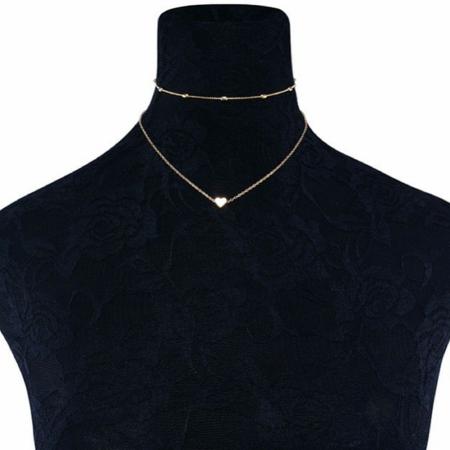 92.5 Silver Jewelry - Women Jewelry GF Pendant 925 Silver Gold Heart Choker Chunky Chain Bib Necklace (Gold)