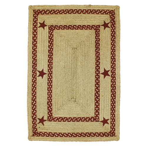 Homespice Decor Texas Star Jute Braided Red Area Rug