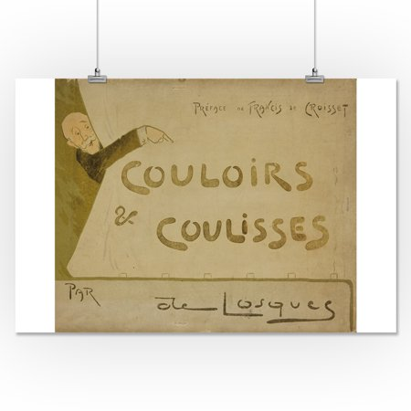 Couloirs & Coulisses (porfolio, cover) Vintage Poster (artist: de Losques)  France c. 1910 (16x24 Giclee Gallery Print, Wall Decor Travel Poster)