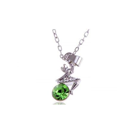 (Feinuhan Silver Tone Green Colored Rhinestone Fairy Pendant Chain Necklace)