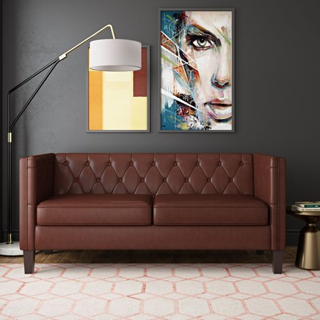 Better Homes & Gardens Brampton Modern Chesterfield Sofa, Chestnut ()