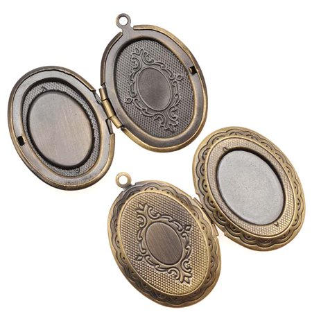 Scroll Pendant Setting (Antiqued Brass Oval Scroll Locket Pendant With Setting For Cabachon 33mm)