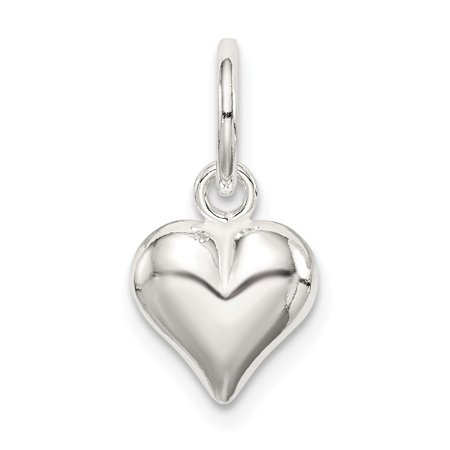 Roy Rose Jewelry Sterling Silver Puff Heart Charm Sterling Silver Rose Flower Charm