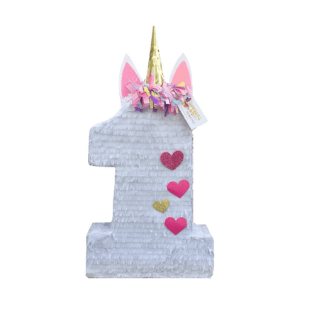 Unicorn Number One Pinata with Heart Deatails](Number One Pinata)