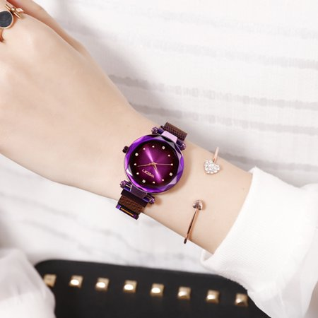 Women Fashion Casual Starry Night Watch Lady Simple Alloy Mesh Band Quartz Wrist Watch