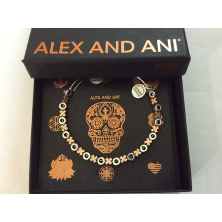 Alex and Ani XO Two-Tone Beaded Bangle Bracelet Mens White Gold Bangle