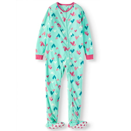 Komar Kids Girls' Heart Fleece Footed Blanket Sleeper (Little Girls & Big Girls) - Next Womens Onesie