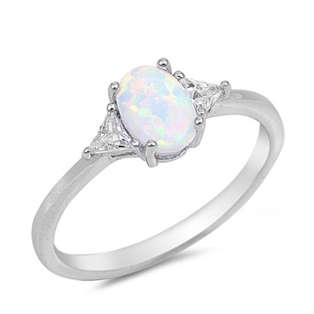 White Simulated Opal Oval Sided By Triangle Stones Cubic Zirconia Ring Sterling Silver