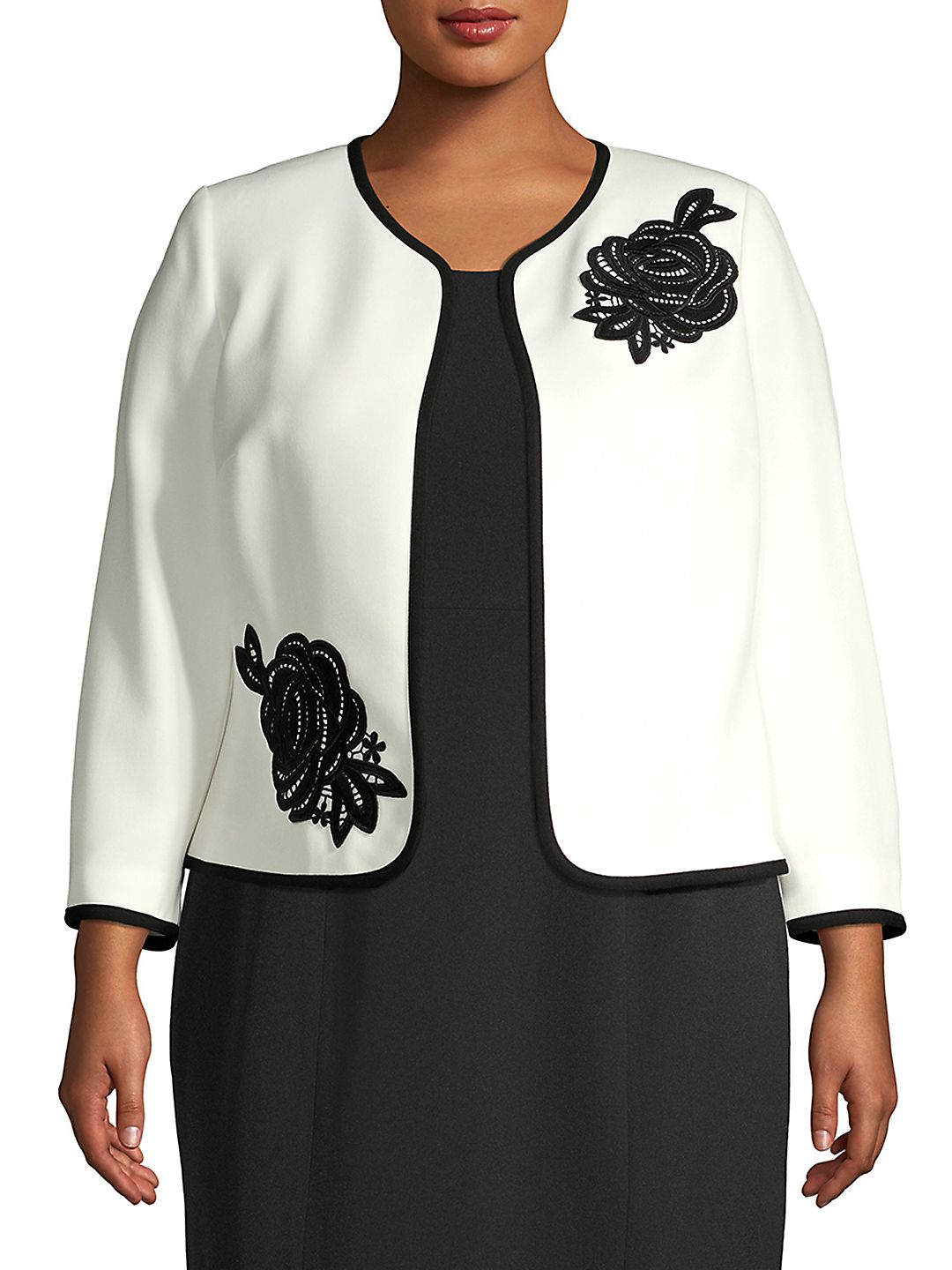 Plus Jewel Neck Floral Trimmed Blazer