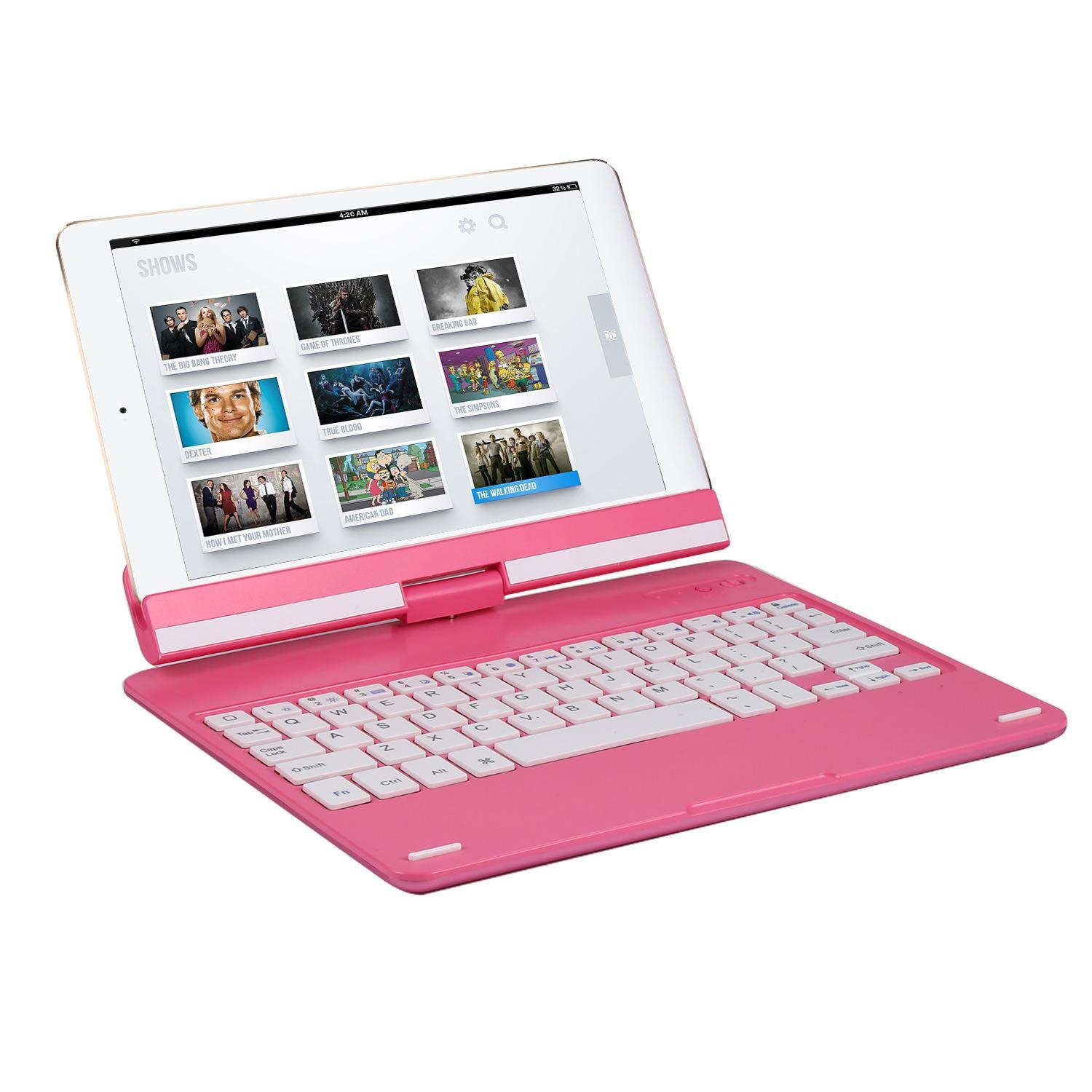 Wireless Bluetooth Keyboard With 360° Rotatable Stand for 9.7inch iPad Air IOS/Andr oid Tablet HFON