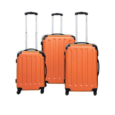 Costway GLOBALWAY 3 Pcs Luggage Travel Set Bag ABS Trolley Suitcase Orange
